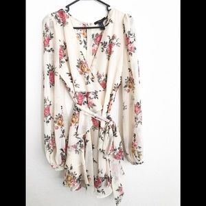 WORN ONCE FOREVER 21 FLORAL CREAM WRAP DRESS